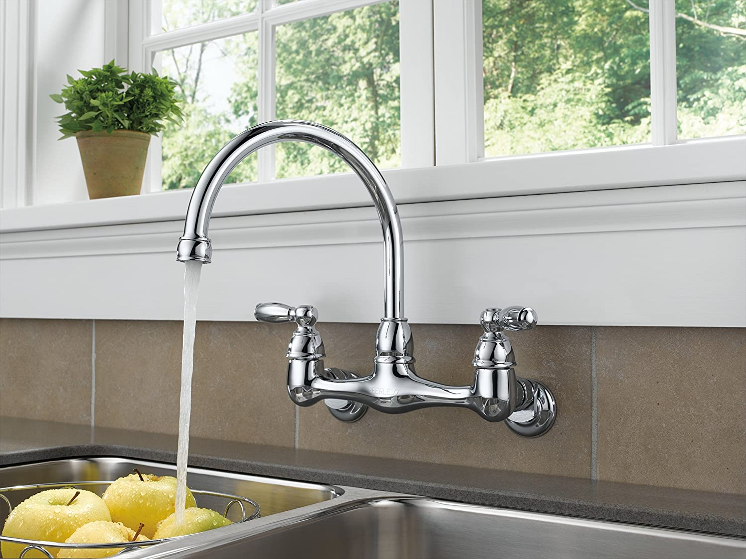 Peerless P299305lf Two Handle Wall Mounted Kitchen Faucet Chrome