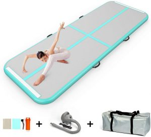 EZ GLAM Air Track 13ft/16ft/20ft Inflatable Gymnastics Tumbling Air Track Mat with Air Pump for Cheerleading/Practice Gymnastics/Beach/Park/Home use